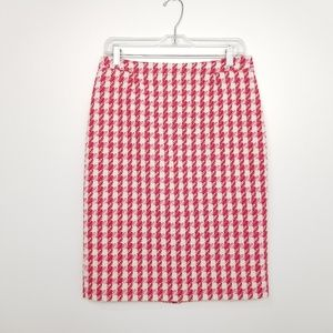 Boden Red Pink Houndstooth Pencil Skirt